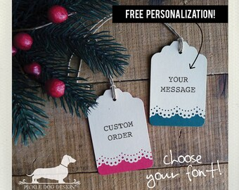 Holiday Lace. Personalized Gift Tags (Set of 12) -- (Vintage-Style, Christmas, Bridal Shower, Wedding, Baby Shower, Red, Green, Thank you)