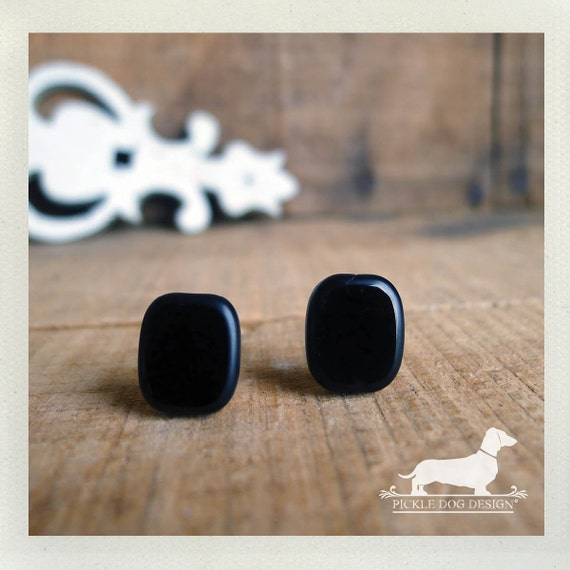 CLEARANCE! Ebony. Post Earrings -- (Black, Small, Simple, Classic, Square, Studs, Everyday Earrings, Geometric, Vintage-Style, Gift Under 5)