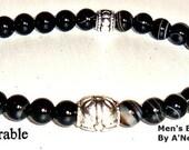 """Men's Bracelet """"Vulnerable""""  Genuine Onyx"""