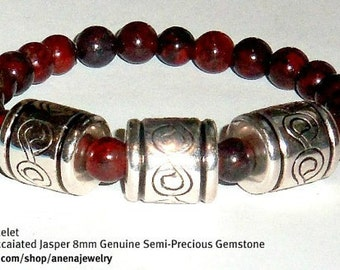 "Men's Bracelet: Genuine Rare Ruby Brecciated Jasper And Silver Plated Copper ""Love"" two different looks one bracelet   By ANena Jewelry"