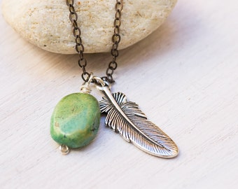Vintage Turquoise Feather Necklace, turquoise necklace, southwestern jewelry, fashion jewelry, December birthstone, mixed metal jewelry