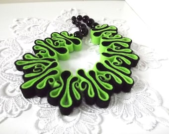 Felt Necklace, Boho Bib, Eco Recycled, Free Form Neon Green Black Eco Felt Bead Necklace, Warm Collar, Fashion Jewelry, Felted