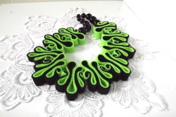 Felt Necklace, Boho Bib, Eco Recycled, Free Form Neon Green Black Eco Felt Bead Necklace, Warm Collar, Fashion Jewelry, Felted