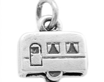 Sterling Silver 3-D Mini RV Vacation Trailer Charm