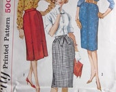 Vintage 1960s Simplicity 3744 Sewing Pattern Classic Slim or Pencil Skirts Set of Three Waist 28 Hip 38