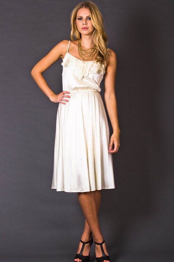 80s Vintage Ruffle Front Sundress in Cream