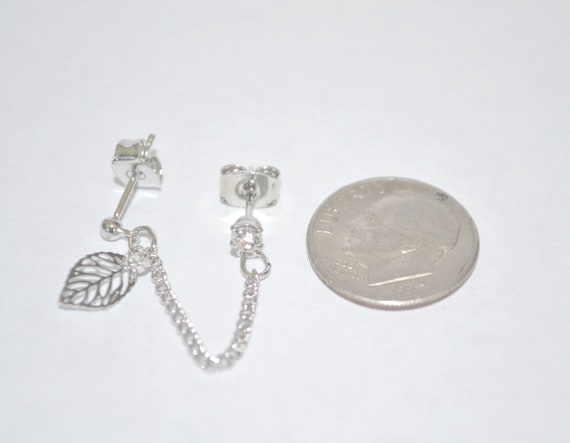 Silver tone Leaf Cartilage Chain Earring Extension Crystal Bling FREE SHIPPING