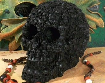 Big BLACK Skull Of Skulls Beeswax Skull Candle