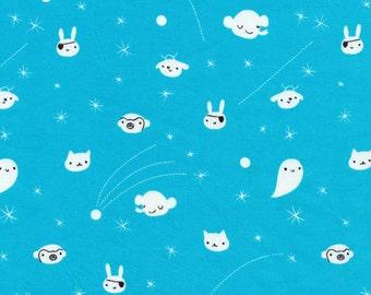 SALE: Kawaii Monster Fabric in Blue Seven Seas by Cloud9 - 1/2 Yard