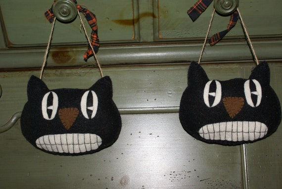 primitive folk art retro black cat halloween ornament set of 2