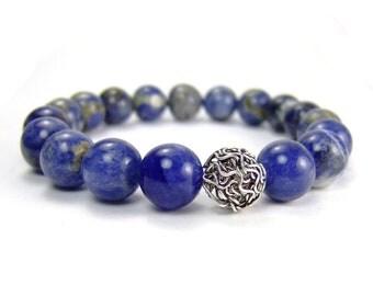 Mens Sodalite Energy Bracelet for Inner Peace