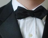 Formal Raw Silk Black Bow Tie - Diamond Tip