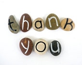 8 Magnets Custom Letters or Thank You Quote, Beach Pebbles, Inspirational Words, Gift Ideas, Sea Stones, Rocks