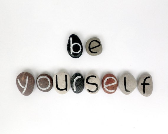 Be Yourself, 10 Magnets Letters, Custom Quote, Beach Pebbles, Inspirational Word or Quote, Sea Stones, Personalized, Rocks