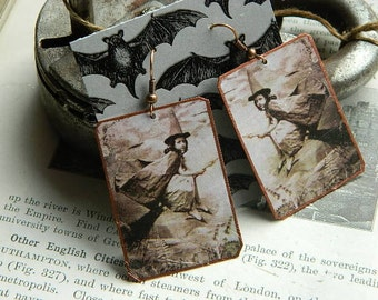 Witch earrings vintage photo image  mixed media jewelry