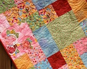 Yellow, Pink, Green, Blue & Red Lap Quilt Whimsical Boutique