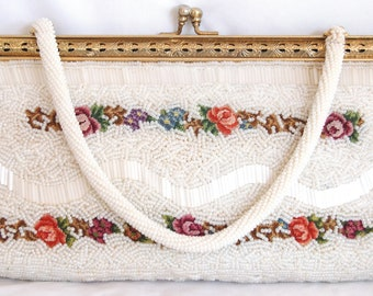 White Beaded Tapestry Purse