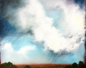 Original oil painting dark sky thunderstorm clouds landscape - Stormscape series thirtyfour