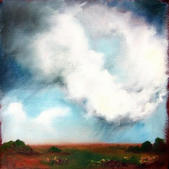 Original oil painting dark sky thunderstorm clouds landscape - Stormscape series thirtyfour