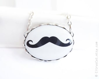 Black mustache necklace,  geekery pendant, geek necklace, hipster jewelry, black and white, retro jewelry