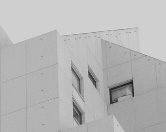 Concentrated City - Modern Urban Photography, Black and White Art Print, Abstract Architecture, Gray Minimalist