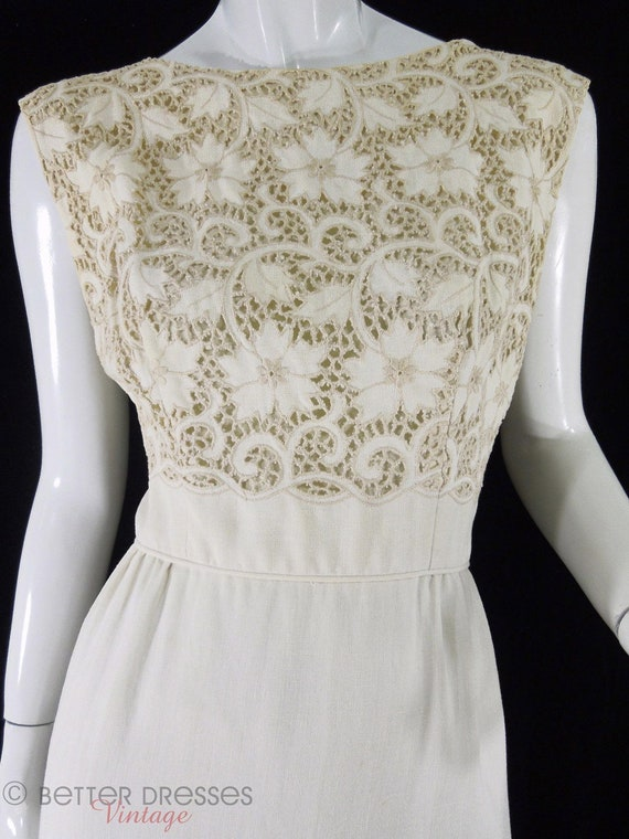 RESERVED - 50s Cream Wiggle Dress & Jacket Set. Cutwork Lace Bodice - med
