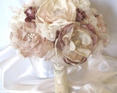Wedding Bouquet Fabric Flower Vintage Inspired Brooch Bouquet in Ivory Champagne and Dusty Rose with Pearls Rhinestones and Lace Custom Made