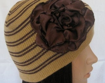 Brown Striped Beanie with a Beautiful Handmade Dark Brown Open Satin Rose Winter Hat