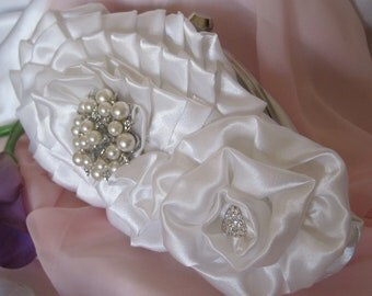 Final Sale......Bridal White Satin Frame Floral Clutch with Pearl and Rhinestone Accents...Bridal Clutches, Wedding Clutches