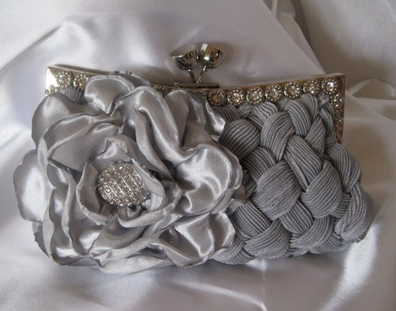 Pewter Grey  Pleated Satin Crystal Touch Front Frame Clutch  with a Grey Satin Open Rose and a Gorgeous Silver and Rhinestone Accent