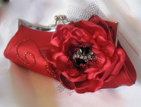 Red Beaded Satin Asymetrical Evening Clutch, Bridesmaid, Mother of the Bride  with Red Satin Open Rose and Black  Rhinestone  Accent