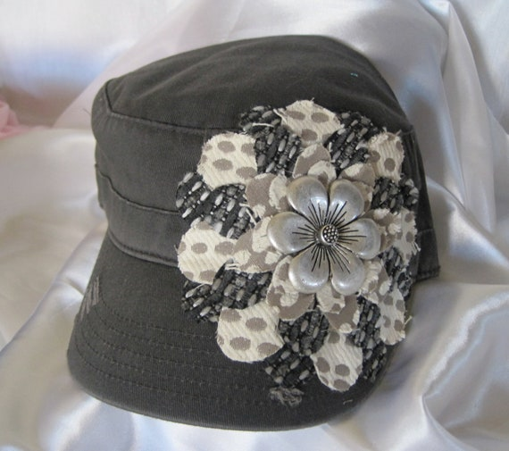 Charcoal Grey Cadet Military Distressed Petal Hat with Two Coordinating Materials and a Darling Silver Flower Embellishment