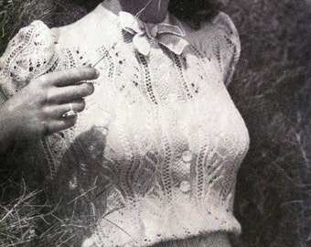 Miss Scarlett - 40s Fashion- lace Blouse- Australian knitting ePattern b32 b34- pretty pretty