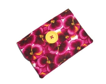 Pansy Design Fabric  Wallet /Purse - 2 pockets - Velcro closure- UK Seller