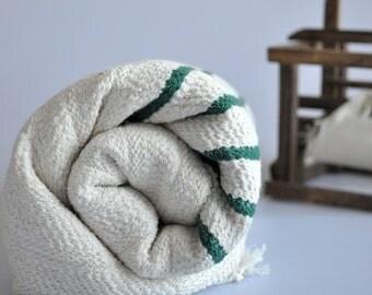 Turkish Bath Towel Bamboo Pure Soft Peshtemal Royal Green Striped