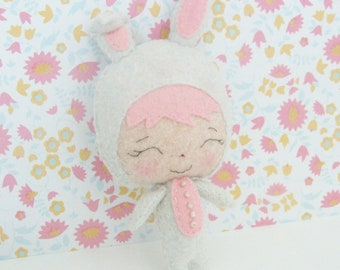 Small Bunny Felt Doll -  Gingermelon Doll