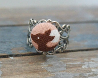 Filigree Ring - Button Jewelry - Bird Ring - Fabric Button Ring