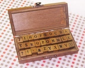 Wooden Rubber Stamp Box - Alphabet Stamps - Print Style- Capital letters- 30 Pcs