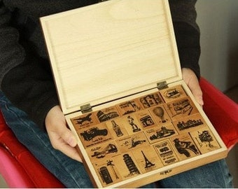 Wooden Rubber Stamp Box Set Korea Vintage Around The World in Wooden Stamps Sets