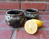 Set of 2 Snowy Black and White Cups