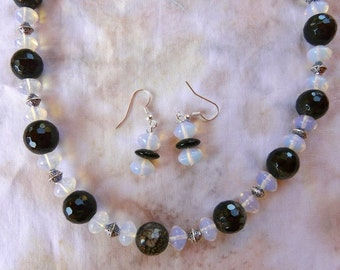 24 Inch Chunky Black Fire Agate and Opalite Necklace and Earrings