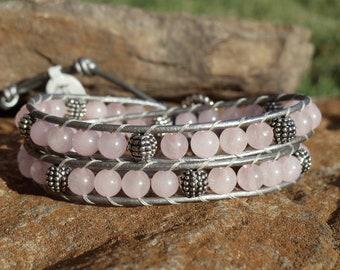 Rose Quartz Double Wrap Bracelet
