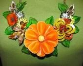 Handmade Vintage Victorian Enamel Flowered Bouquet Garden Bib Necklace Pendant