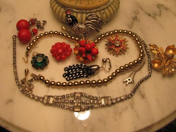 Destash Rhinestone Craft Lot of Vintage Jewelry, Brooches Earrings & More