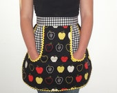 Apples and Gingham half apron