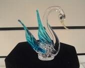 Hand Blown Glass Swan Statue