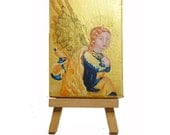 Golden Renaissance Angel  Small  Painting on plaster
