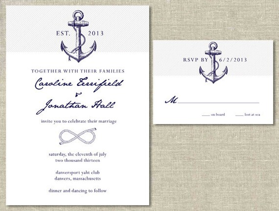 nautical wedding invitation rsvp card set diy printable With nautical wedding invitations with rsvp