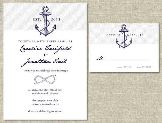 Sailboat Wedding Invitations: Nautical Wedding Invitation & RSVP Card Set DIY Printable