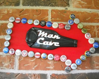 Man Cave Sign Beer Bottle Caps with Slumped Beer Bottle